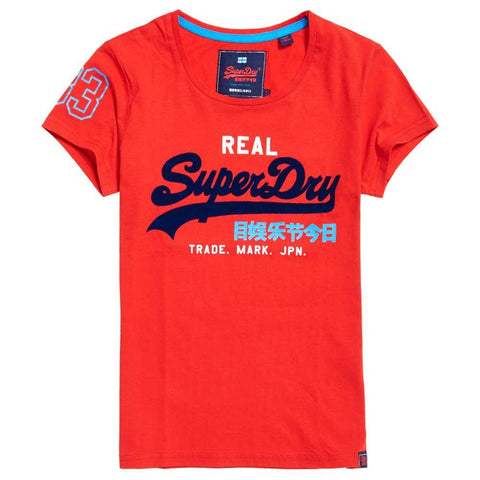 Ladies Superdry Vintage Logo Tri Colour Entry Tee in Primary Red T-Shirts Ladies Superdry