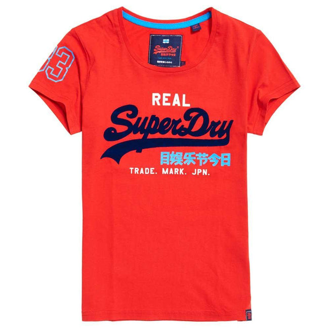 Ladies Superdry Vintage Logo Tri Colour Entry Tee in Primary Red