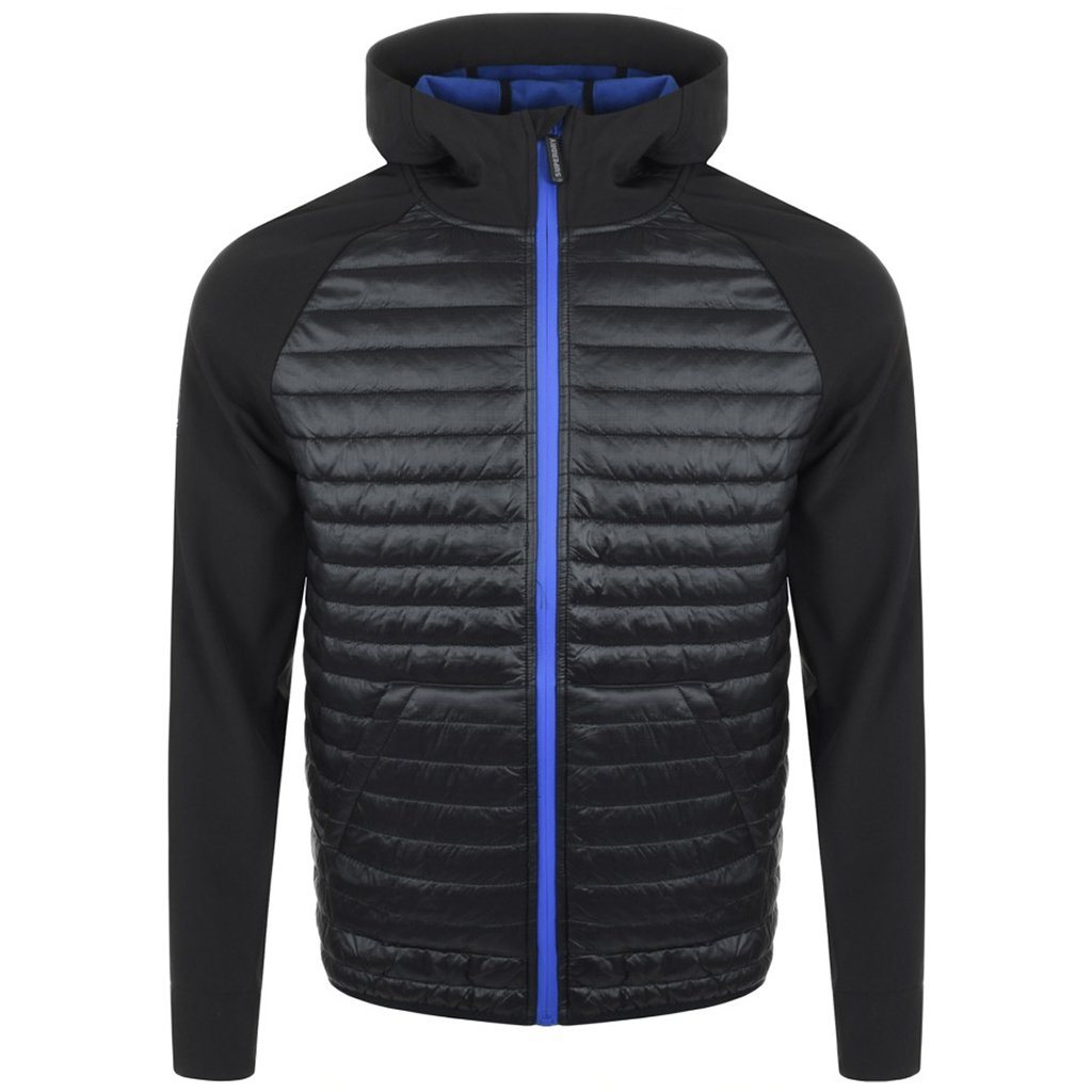Superdry Mountaineer Softshell Hybrid Jacket in Black / Cobalt Blue