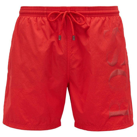 BOSS Bodywear Logo Print Swimshorts in Red Swimwear BOSS