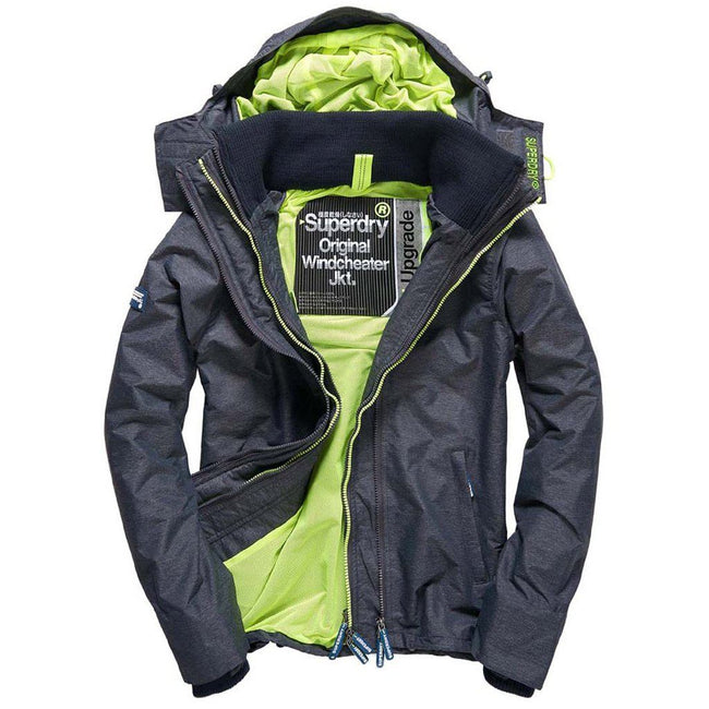 Superdry Tech Hood Pop Zip Windcheater in Black Marl / Lemonade