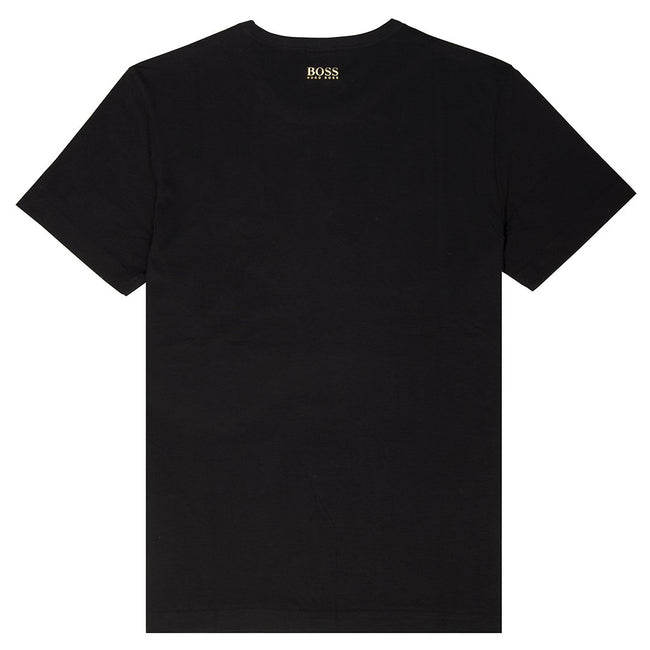 BOSS Athleisure Crew Neck Cotton T-Shirt with Gold Foil Branding in Black