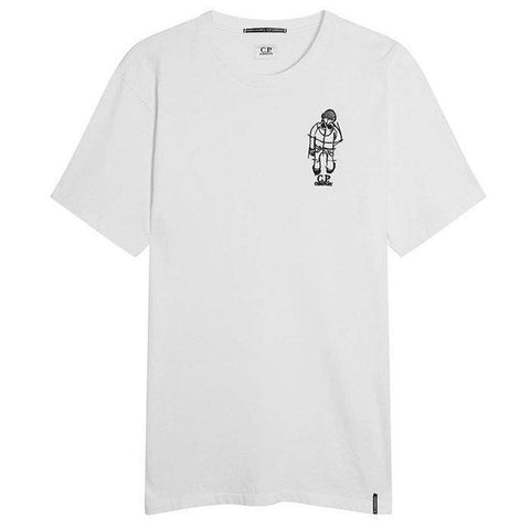 Crew Neck Goggle Man Logo in White T-Shirts CP Company