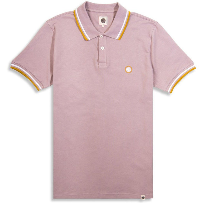 Pretty Green Tipped Pique Polo Shirt in Dusty Pink