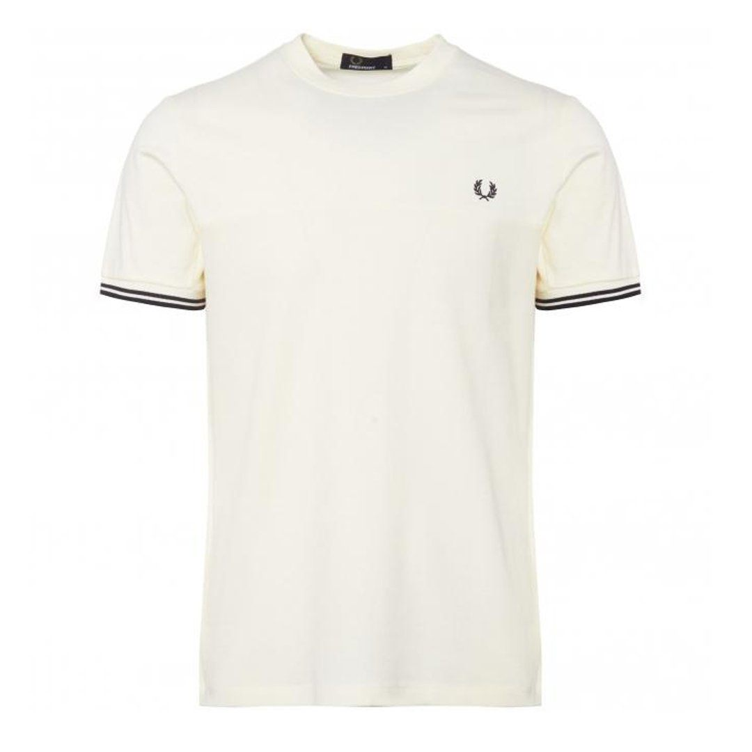 Fred Perry Waffle Panel T-Shirt in Light Ecru