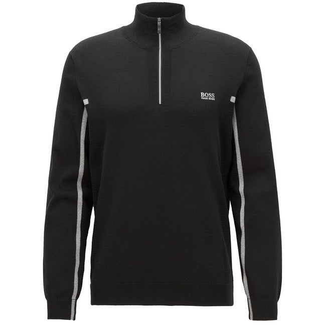 BOSS Athleisure Zanja 1/4 Zip Sweater in Black Jumpers BOSS