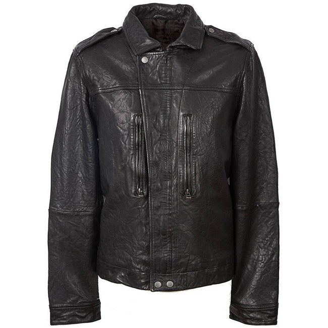 Pretty Zip Through Leather Biker Jacket in Black