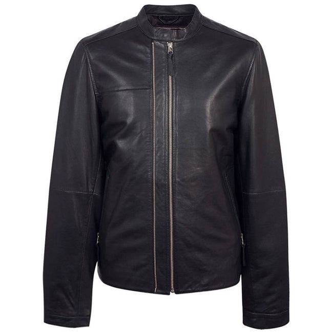 Pretty Green Zip Up Leather Biker Jacket in Black