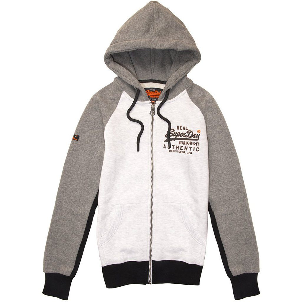 Superdry Vintage Logo Pinel Ziphood in Blizzard Grey Marl/ Black