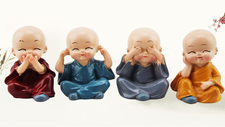 4 Figurines de Mini Bouddha