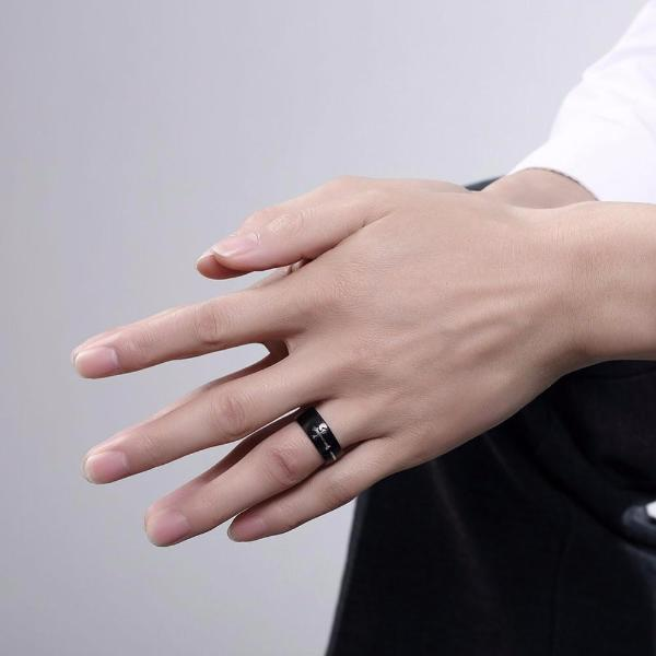Black Sideways Cross Ring