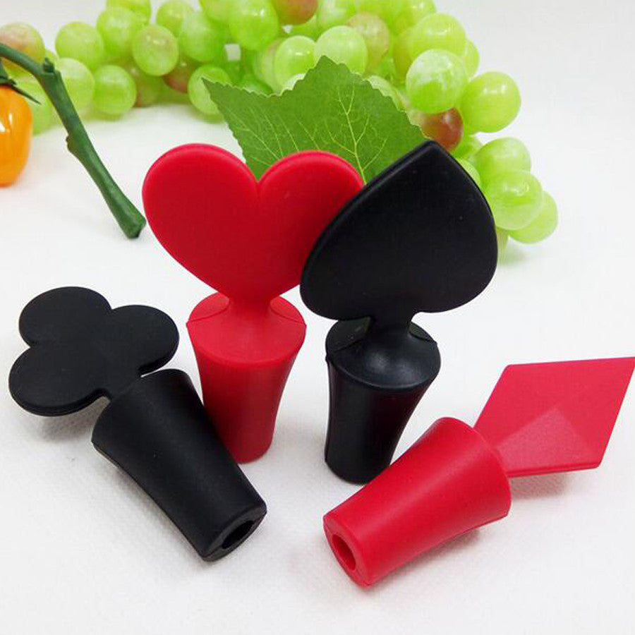 4pcs Poker Wine Bottle Stopper