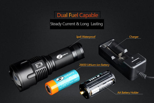 Zoomable Waterproof LED Flashlight