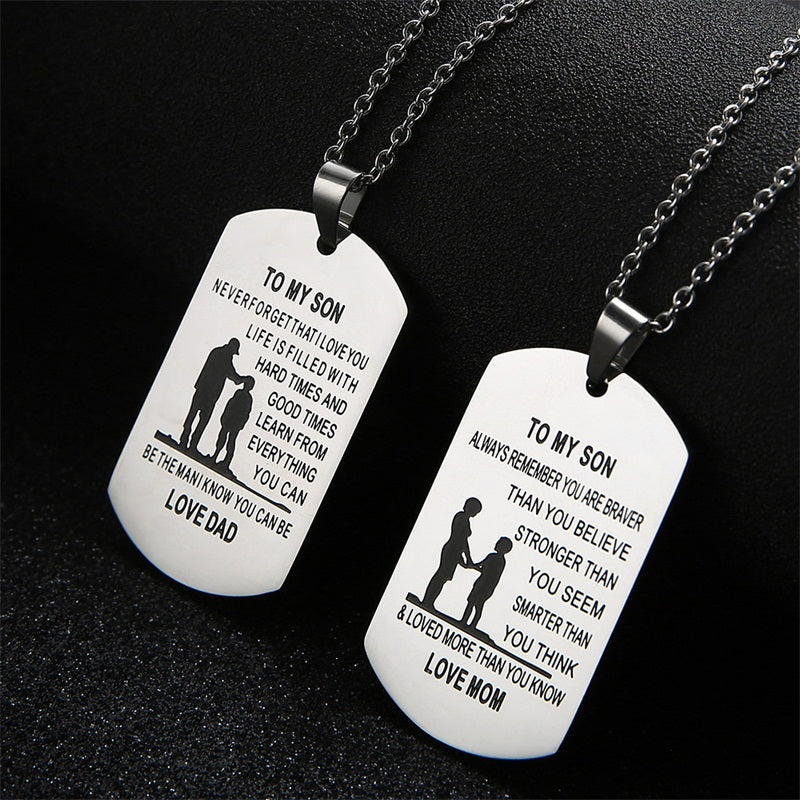 Son and Daughter Stainless Steel Necklace Pendant