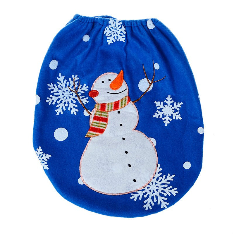 Merry Christmas Snowman Toilet Bathroom Set