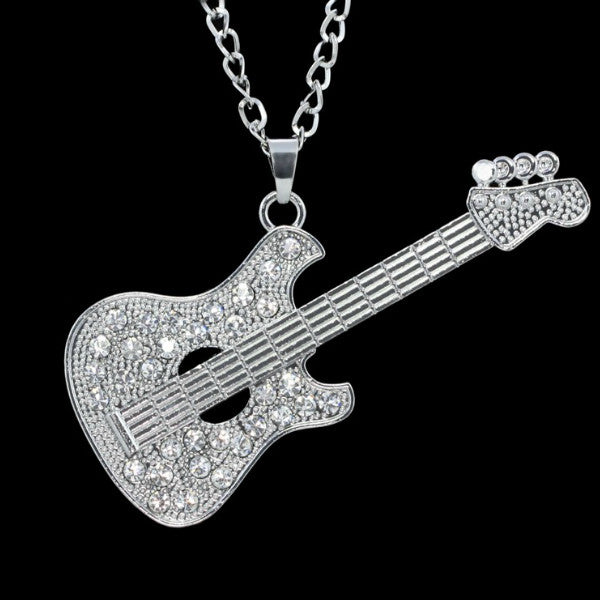 Shimmering Bass Guitar Necklace