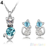 Cute Cat Necklace Earrings