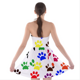 Cat Paw Prints Strapless Bra Top Dress
