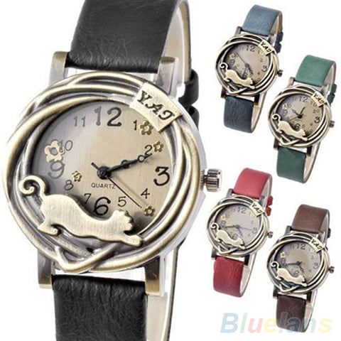 Vintage Womens Bronze Case Cat & Flower Quartz Analog Wrist Watch