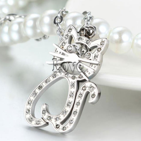 Stainless Steel Rhinestone Cat Pendant