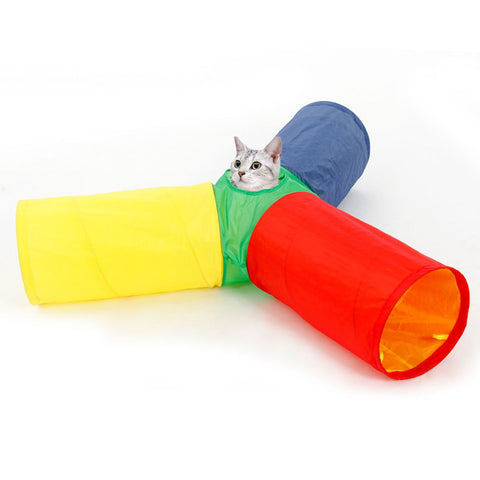 Colorful 3 Way Cat Tunnel