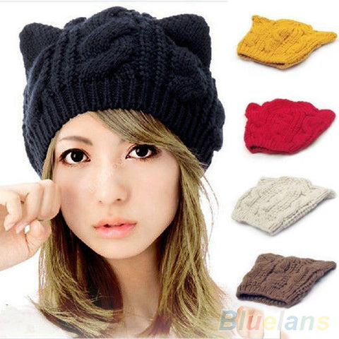 Crochet Braided Cat Ears Knitted Hat Cap