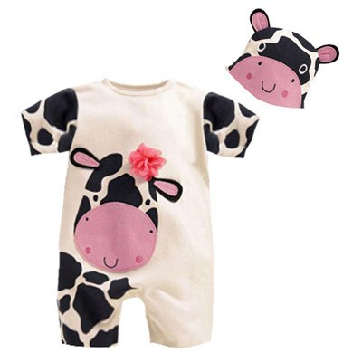 Baby - 2 Piece Romper And Matching Hat Boys Girls Lion Zebra Cow Panda 4-24 Months