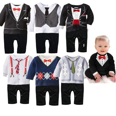 Baby - Adorable Onesie Tuxedo Tux Black Tie Suit Formal Baby Boys Toddler Romper- FREE SHIPPING