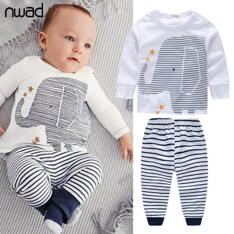 Clothing Sets - Baby Long Sleeve Elephant Top T-Shirt & Striped Pants Outfit - FREE SHIPPING