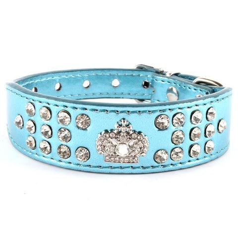 Collar - Small Puppy Bling Leather Crown Crystal Diamond Collar Necklace - FREE SHIPPING