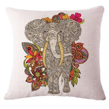 Colorful Elephant Printed Cotton Cushion - FREE SHIPPING