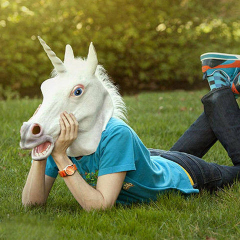 Costume - White Unicorn Horse Head Mask