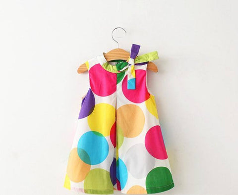 Cute As A Button Girls Colorful Spotty A Line Summer Dress Size 3 4 5 6 7 - FREE SHIPPING