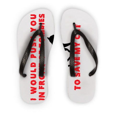 Flip Flops - I Push In Front Of Zombies To Save My Cat Flip Flops - FREE SHIPPING