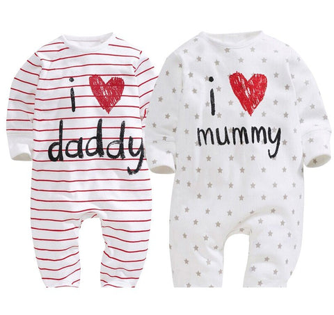 I Love Daddy And Mommy Baby Girl Jumpsuit - FREE SHIPPING