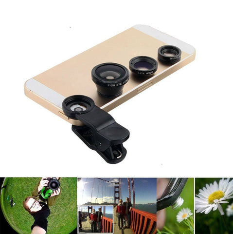Mobile Phone Lenses - Wide Angle 3 In 1 Fish Eye Camera Lens For Iphone 6s Plus 5s/5/HTC Samsung S6 S5