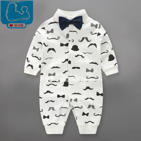 Moustache Bowler Hat Bow Tie Baby Toddler Cute Onesie Romper 0-24mths