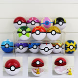Pokemon Trainer Poke Ball With Mini Pokemon Figure Doll 7cm