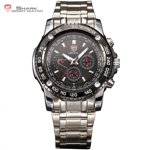 SHARK Sport Watch 6 Hands Day Date Calendar Stainless Men's Quartz Watch
