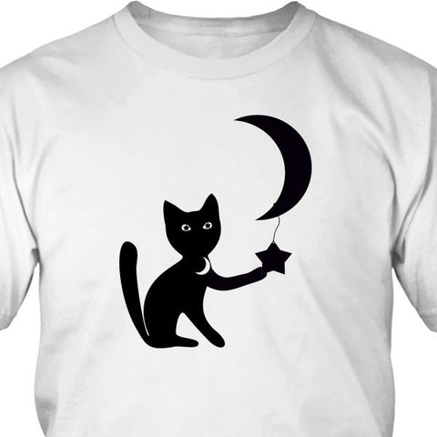 T-shirt - Moon Cat Tee Shirt Or Hoodie