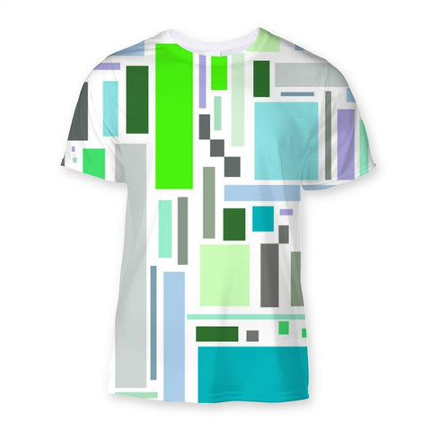 T-Shirt - Retro Retangles Green Sublimation T-Shirt - FREE SHIPPING