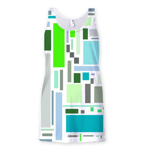 T-Shirt - Retro Retangles Green Sublimation Vest - FREE SHIPPING