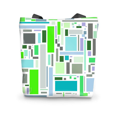 Tote Bag - Retro Retangles Green Tote Bag - FREE SHIPPING