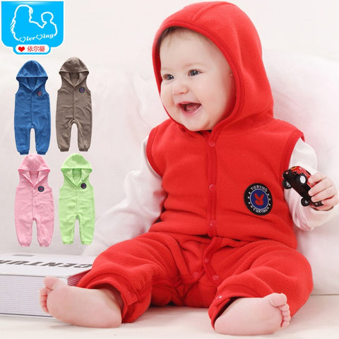 Warm Polar Fleece Baby Jumpsuit Vest Hooded - FREE SHIPPING