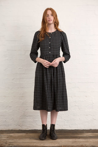 Grey Gingham Linen Arundel Dress