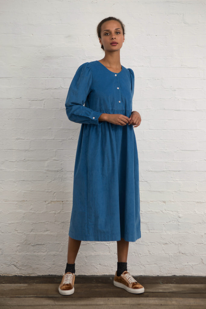 Cornish Blue Corduroy Market Dress