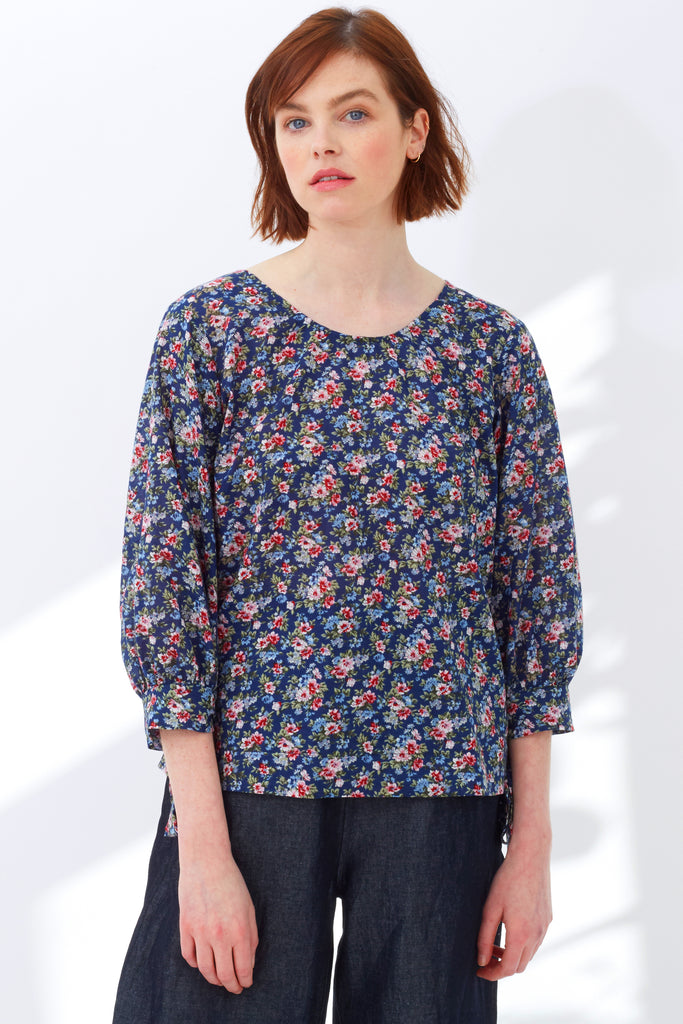 Navy Garden Floral Cotton Finsbury Top - Sold Out