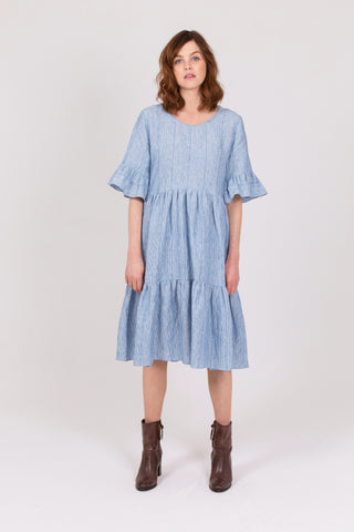 Blue Stripe Linen Poets Road Dress