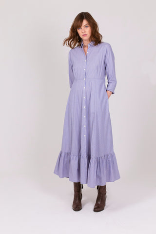 Blue Pinstripe Cotton Holkham Shirt Dress