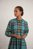 Aqua Tartan Linen Kerry Dress
